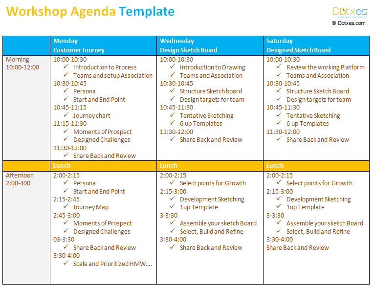 workshop agenda template