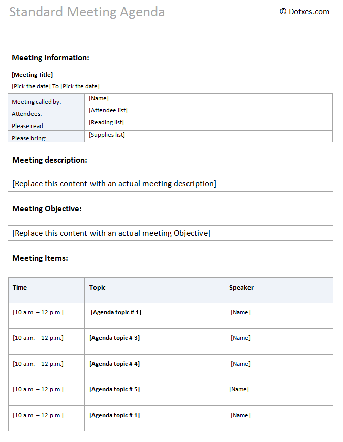 A standard meeting agenda template with table layout