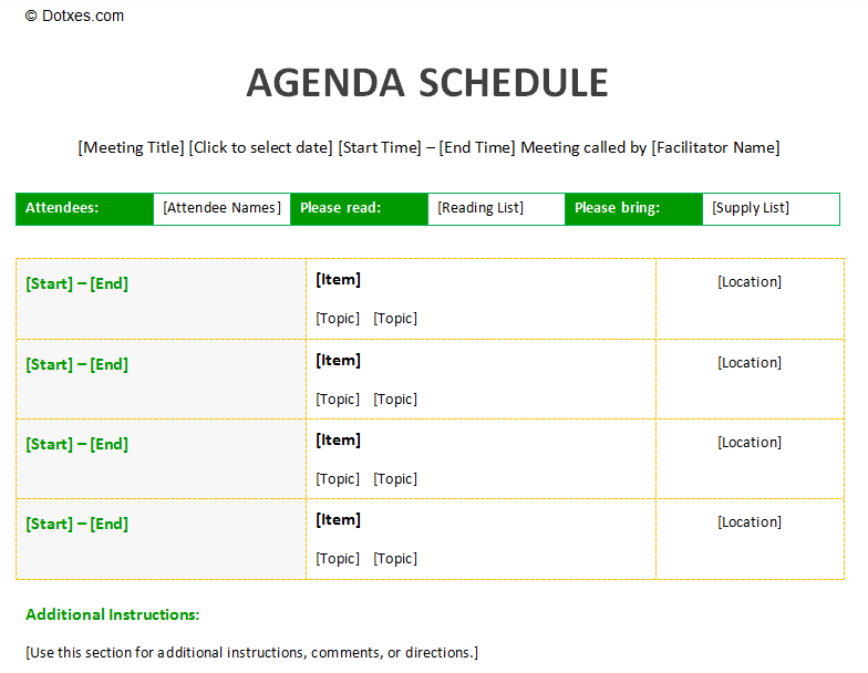 Agenda schedule template by Dotxes