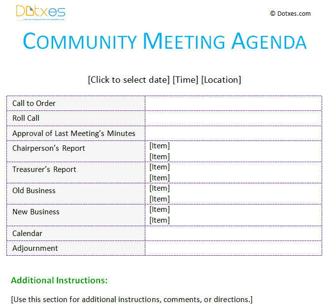 Community meeting agenda template with a basic ab table format