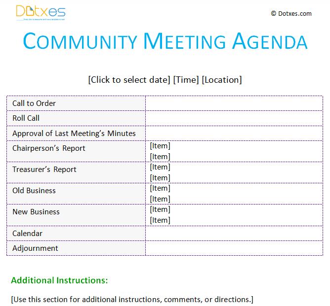 meeting agenda template  community