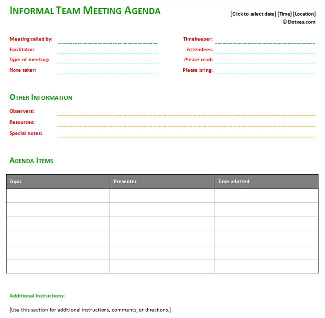 informal meeting agenda template  basic