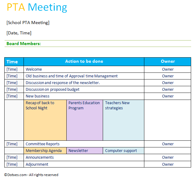 PTA Agenda template with short table layout