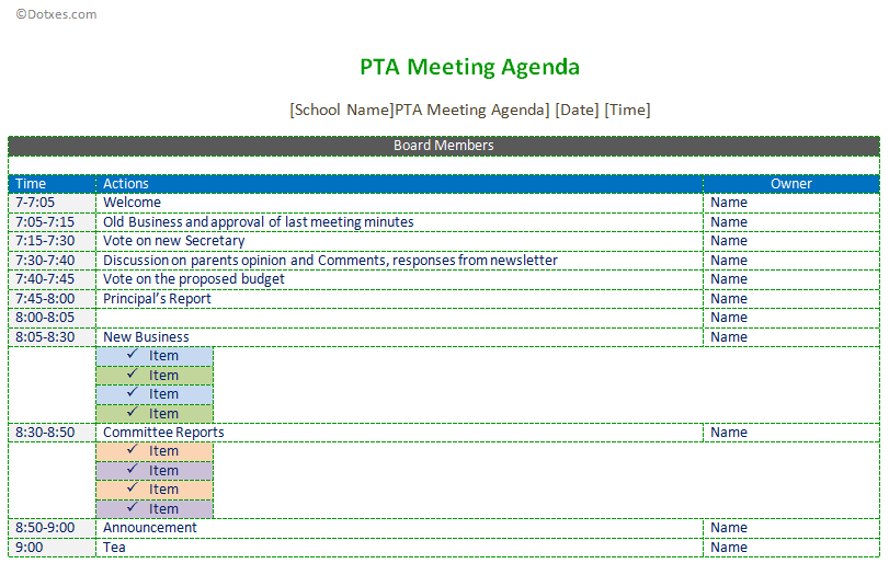 PTA meeting agenda template - Dotxes