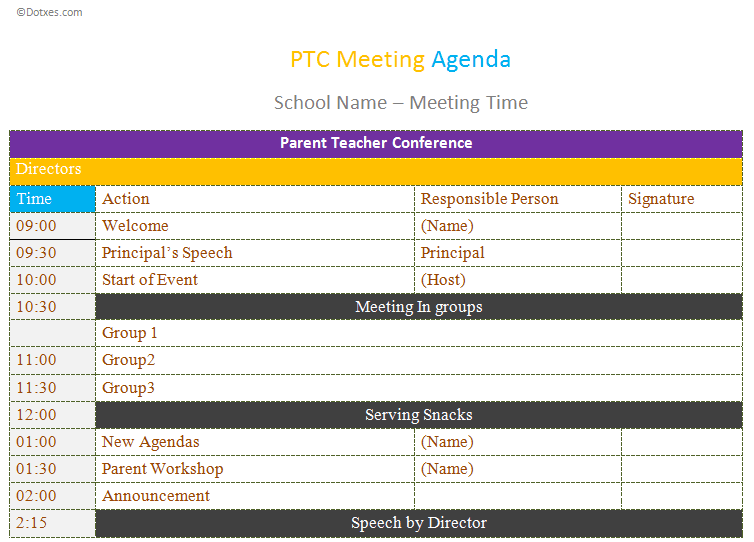 PTC-meeting-agenda-template