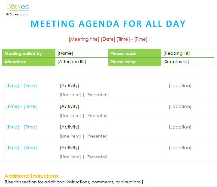 Printable Meeting agenda template will all day schedule