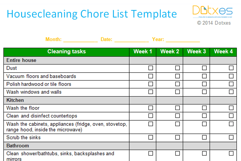 photo about Cleaning List Template titled Home cleansing chore checklist template (Weekly) - Dotxes