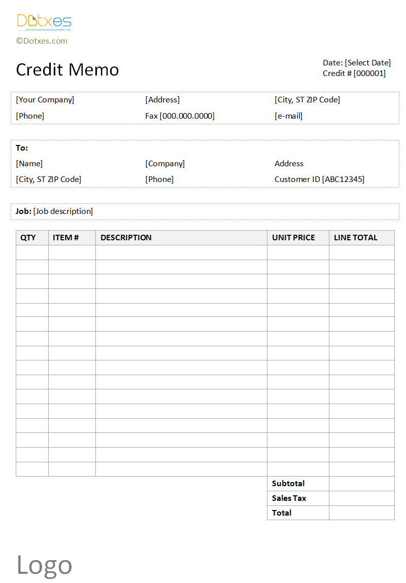 Credit memo template (Basic and neat table format)