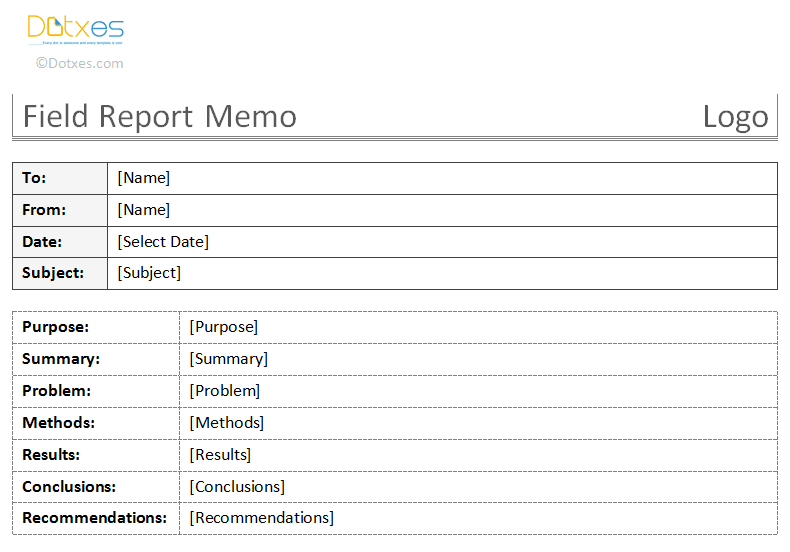 Field Report Memo Template (table format)