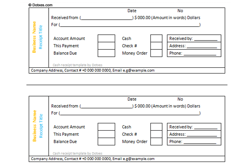 Cash Receipt Template 3 Per Page Dotxes