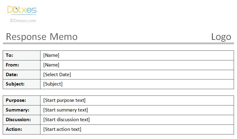 Printable Response Memo Template
