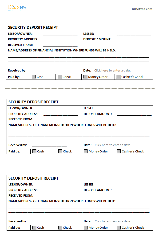Security Deposit Receipt Template (In Microsoft Word®)