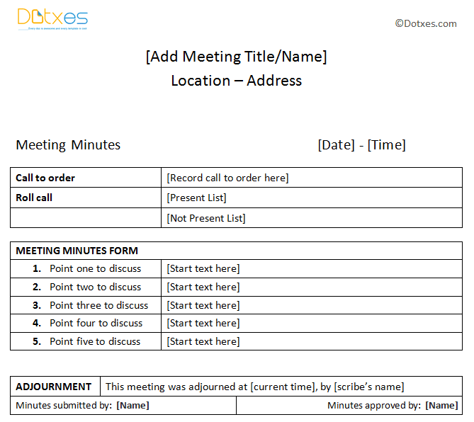 Basic meeting minutes sample