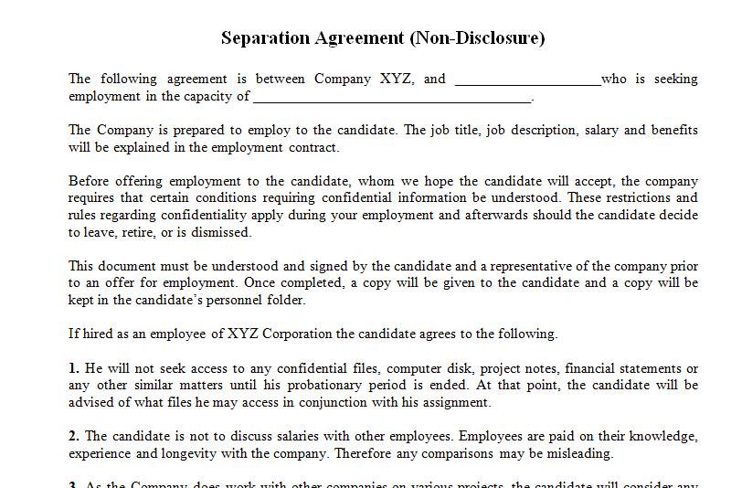Non Disclosure Agreement Template For Employee Dotxes