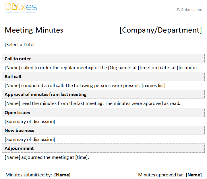 Formal Minutes of Meeting Template