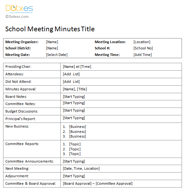 Free-printable-School-Meeting-Minutes-Template