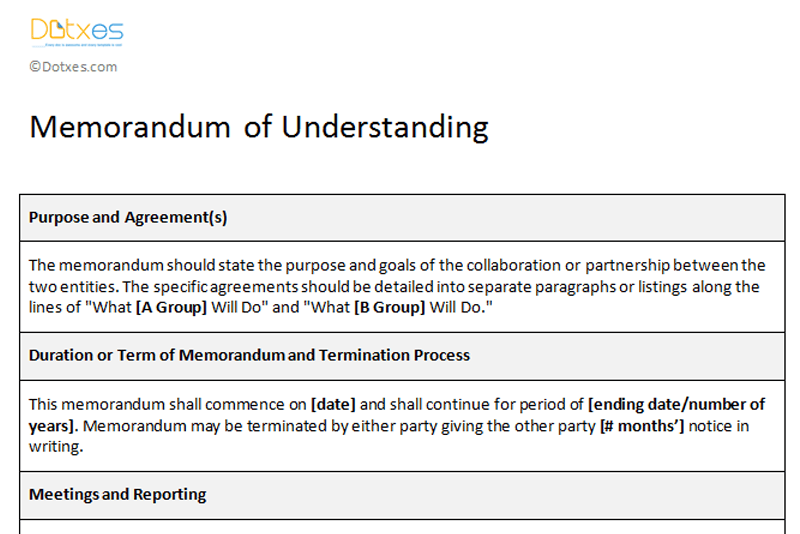 Memorandum Of Understanding Sample Template Dotxes