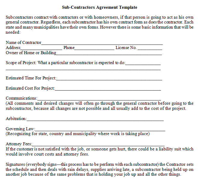 sub-contractors agreement template