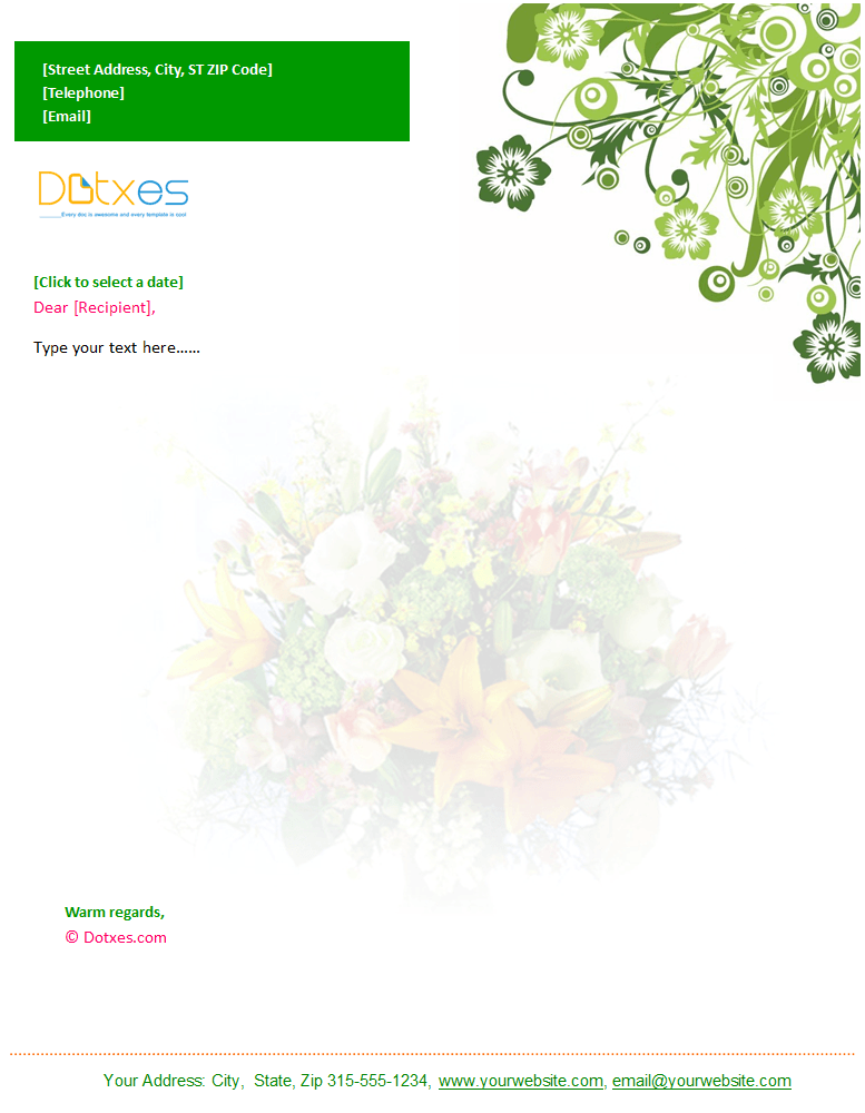 Floral Letterhead Template in Green Flower Design