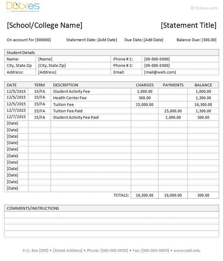 Student Fees Invoice Template (IN Microsoft Word)