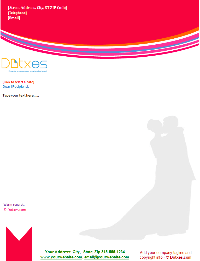 Wedding Letterhead Template Red Theme Dotxes