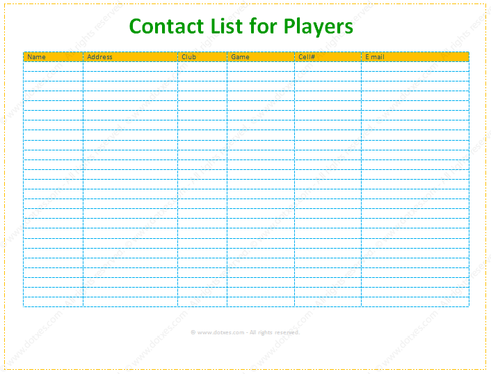 Contact and Phone List Template