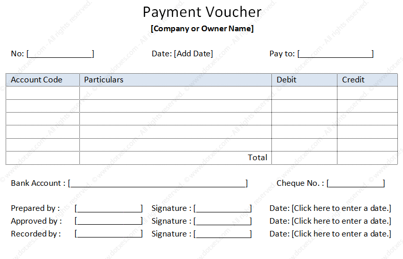 payment voucher sample template