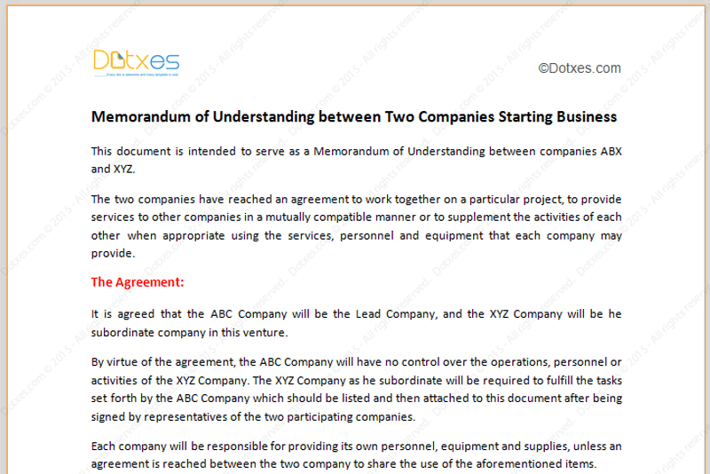 memorandum of understanding template  starting business