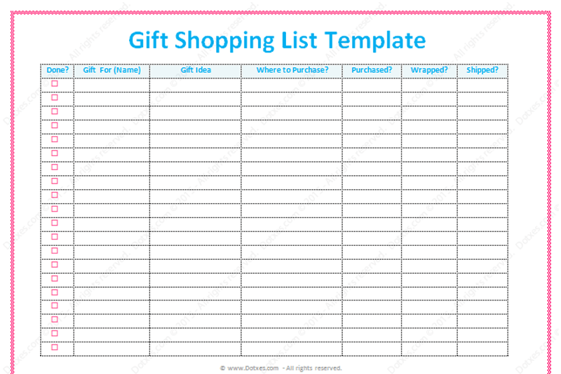 gift list template  word