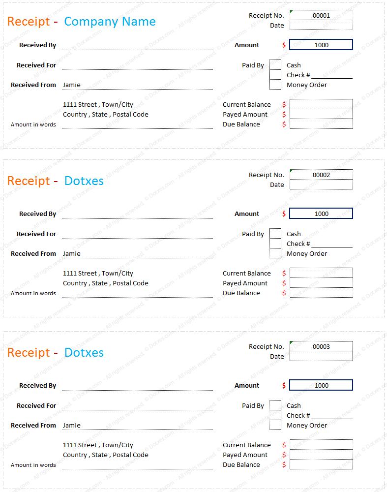 Receipt Book Format