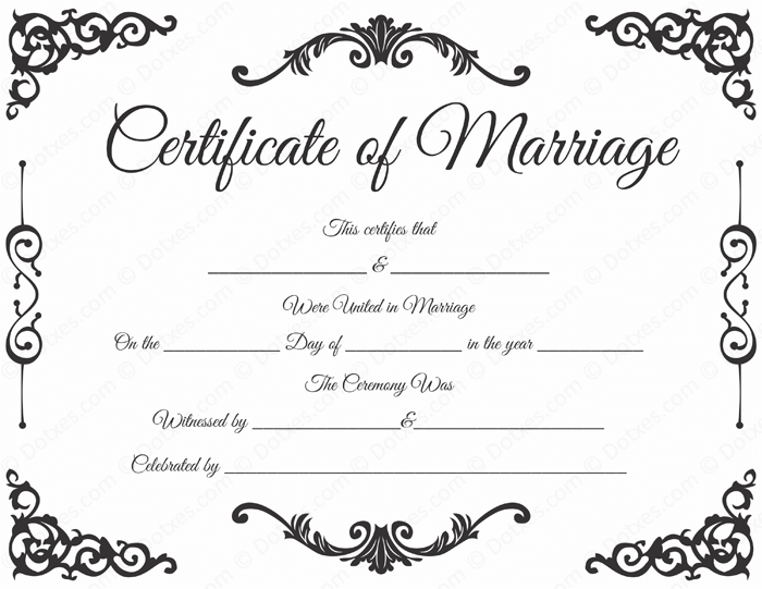 Marriage Certificate Template for Microsoft Word