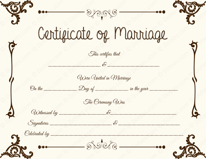Floral Corner Blank Marriage Certificate Template