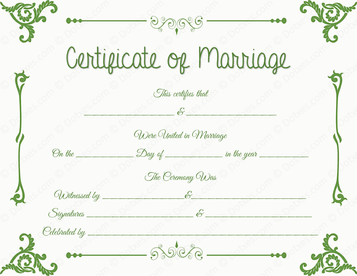 Floral Corner Marriage Certificate Format for PDF