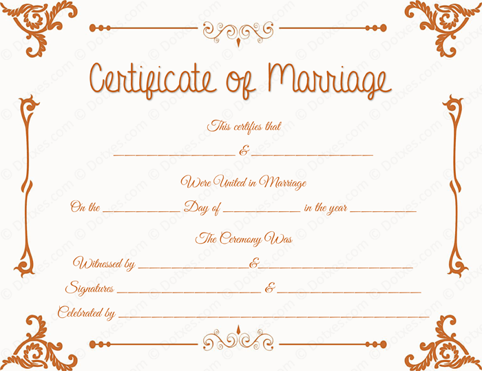 Floral Corner Marriage Certificate Template for Word