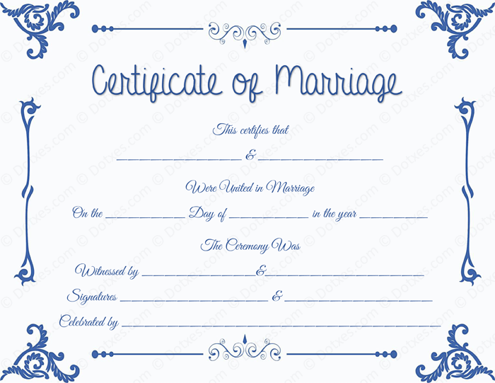 Floral Corner Printable Marriage Certificate Template BLU