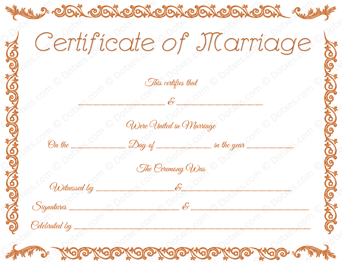 Printable Marriage Certificate Format for PDF