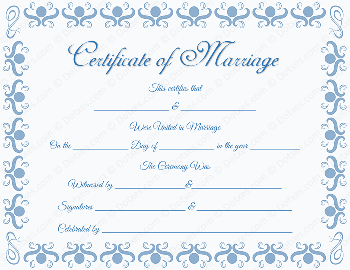 Round Grill Border Blank Marriage Certificate Template