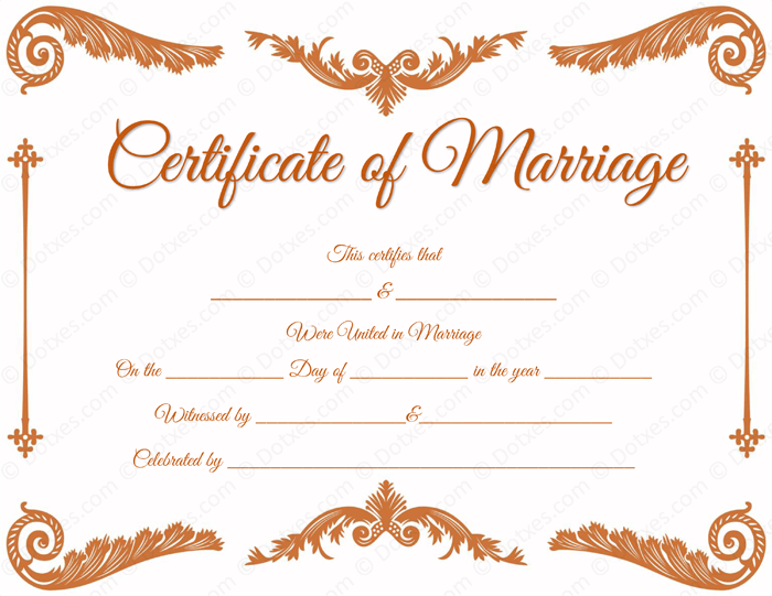 Royal Corner Marriage Certificate Template for Word
