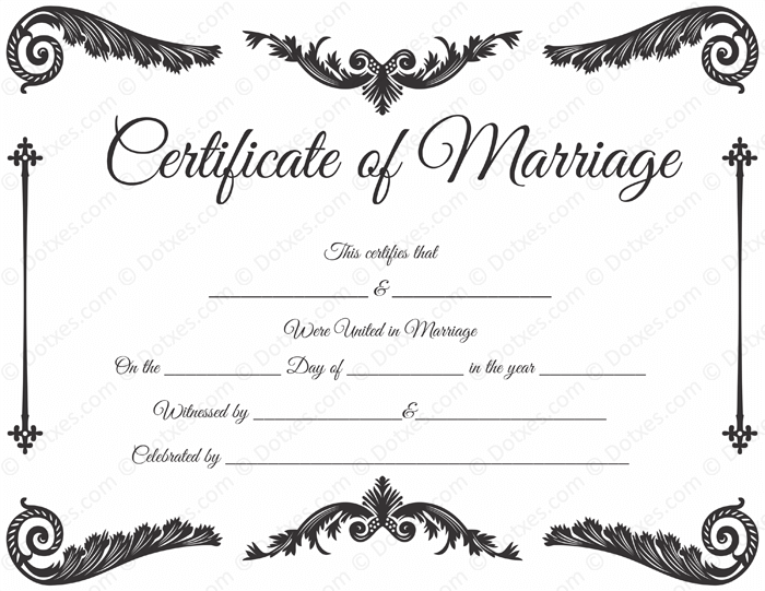 Handy image for printable marriage certificates