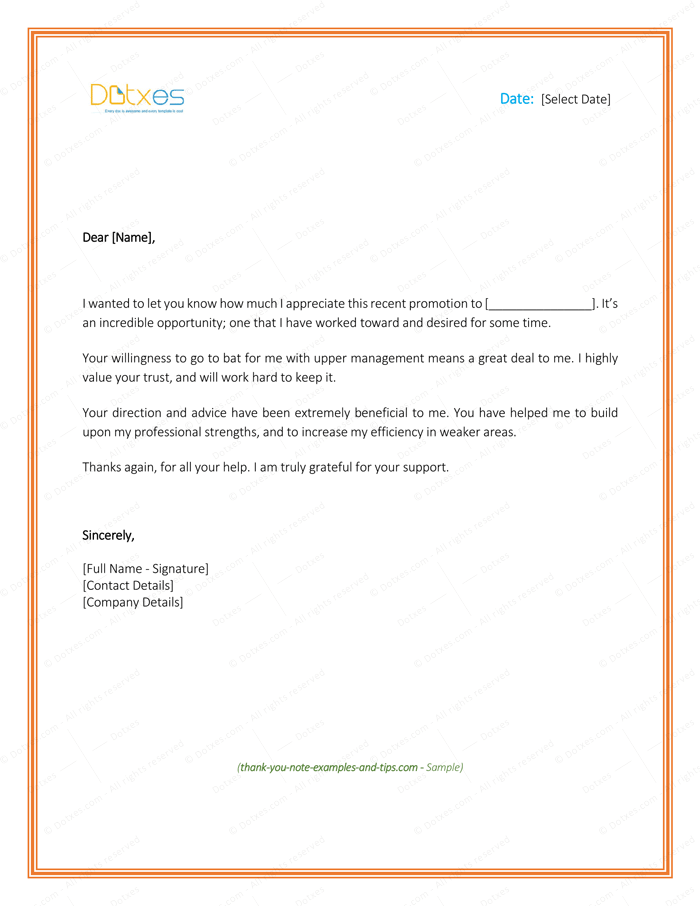 promotion thank you letter thank you letter to 8 plus best samples and templates 24135 | Thank You Letter to Boss for Promotion Page 1