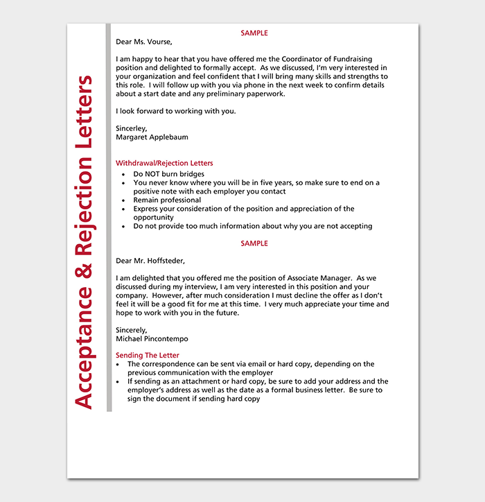 Acceptance & Rejection Letter Template