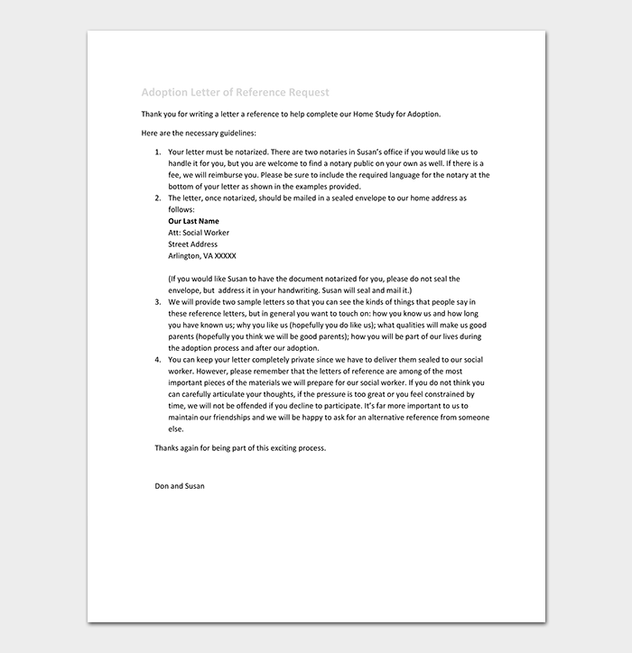 Adoption Letter of Reference Request Template