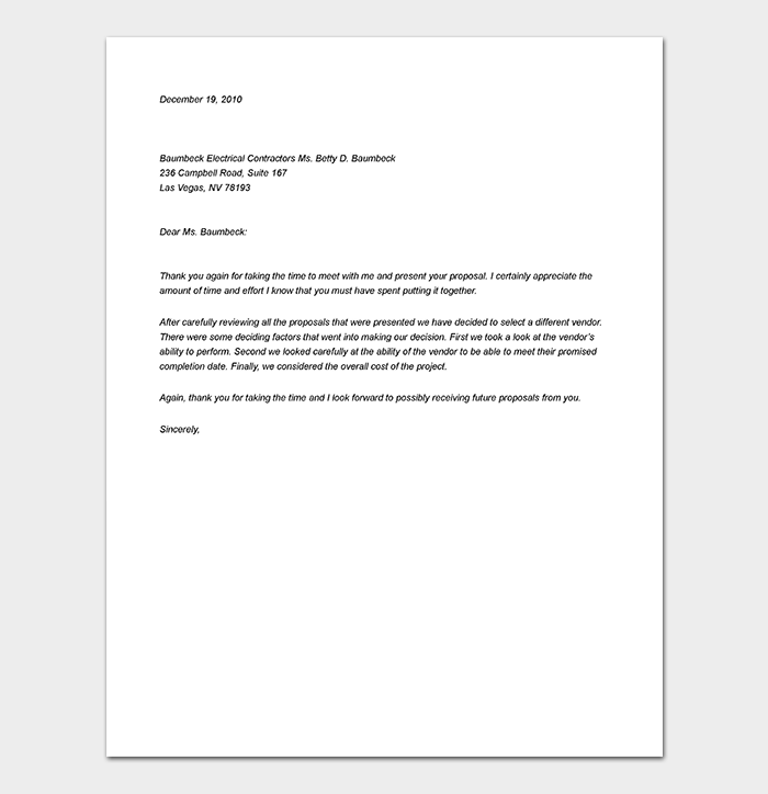 Business Proposal Rejection