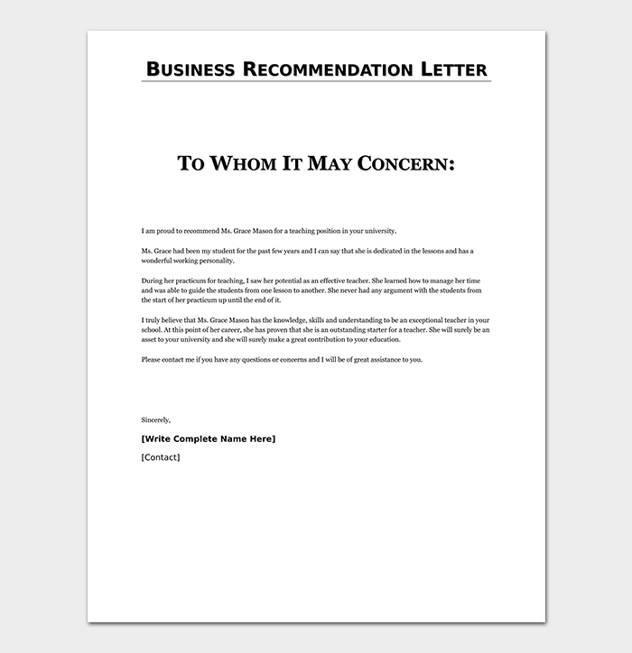 Business Reference Recommendation Letter