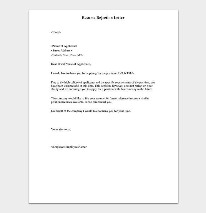 CV Rejection Letter Format