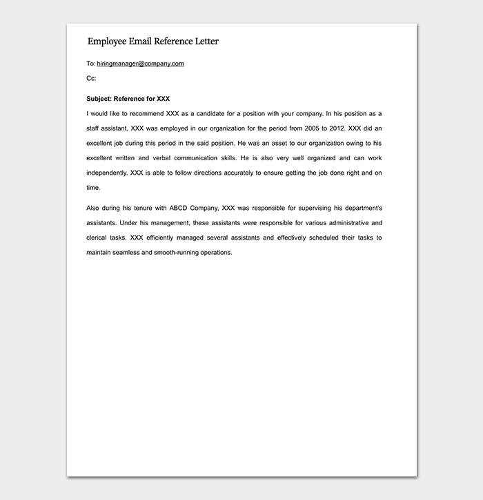 Employee Email Reference Letter