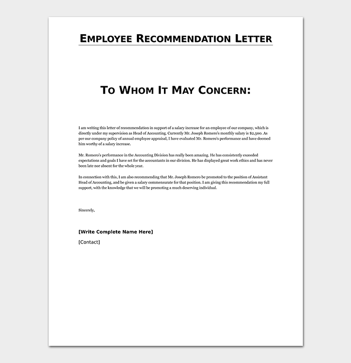 Employee Reference Letter