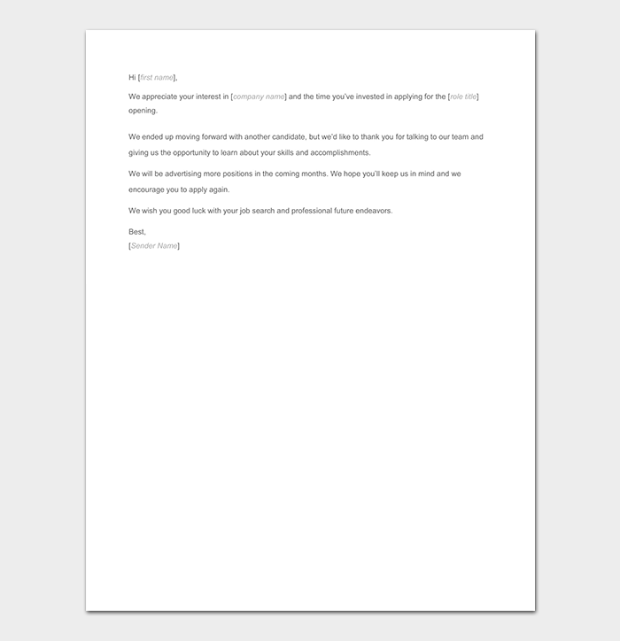 Employment Candidate Rejection Letter