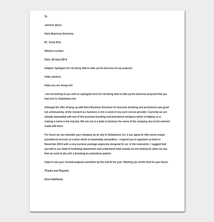 Example Business Proposal Rejection