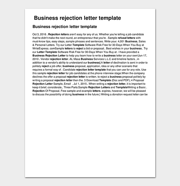 Example of Business Rejection Letter